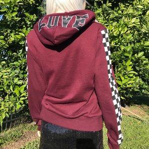 Reflex Maroon Checkered Love Pullover Hoodie